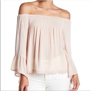 RAGA-Anthropologie boho off the shoulder blouse